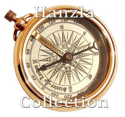 Vintage Maritime Pocket Watch Style Stanley London Brass Compass~Pocket Compass