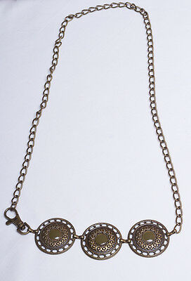 Concho Link and Chain Belt Vintage Women's Brass Stamped 1970s Hippie Boho Style