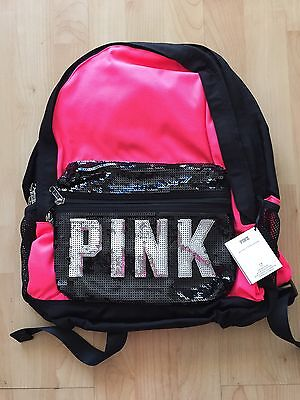 Victoria's secret PINK Campus Backpack Bookbag Neon pink& Black&Silverlogo