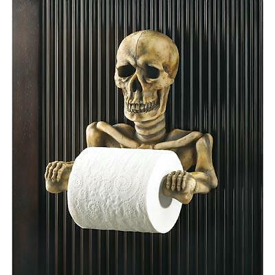 Awesome Skeleton Skull Toilet Paper Holder Home Decor NEW Halloween Collectible