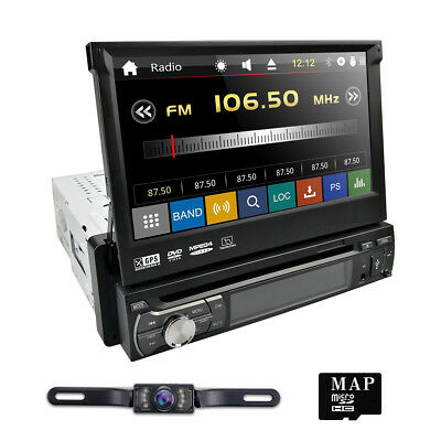"""Single 1Din 7"""" Flip Up Car Stereo DVD CD Radio Player GPS Touch Screen+US Camera"""
