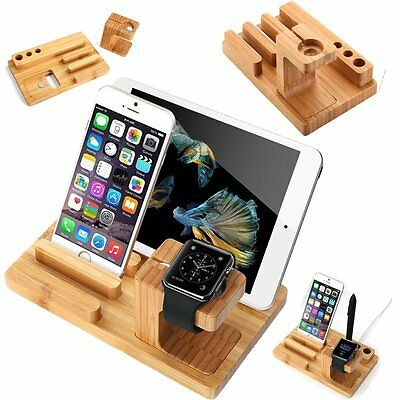 Bamboo Charging Dock Station /Charger Holder Stand for Apple Watch /iPhone iPads