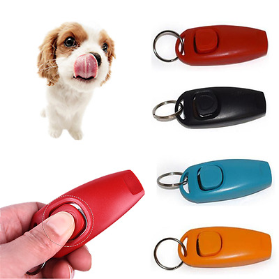 HOT 2in1 Pet Dog Training Clicker + Whistle Mini Trainer Guiding Tool Plastic Uk