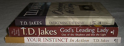 Lot of 3 Books by T. D. Jakes~Overcoming The Enemy~God's Leading Lady~Instinct