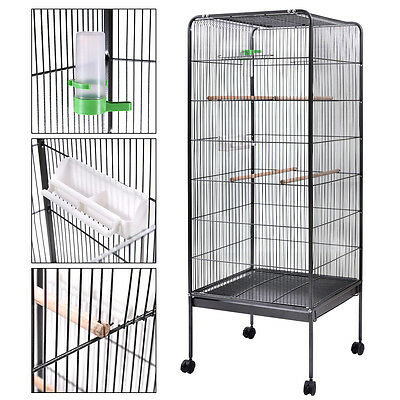 "58"" Parrot Bird Finch Cage Play Top Pet Supplies w/Perch Stand Two Doors Flattop"