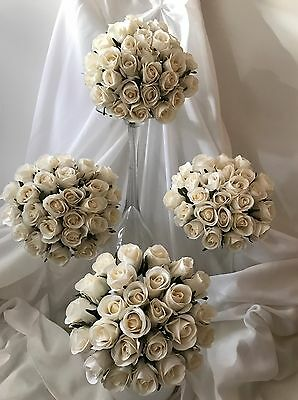 4 x Artificial silk wedding flower ivory roses bridal bouquets cream flowers
