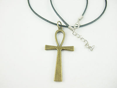 Pagan Wicca Antique Bronze Egyptian Ankh Cross Charm A Wax Cord Necklace