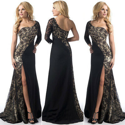 UK Long Split Lace Evening Formal Party Ball Gown Prom Bridesmaid Dress Size8-18