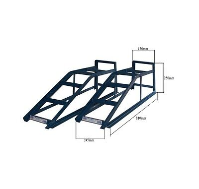 Pair of 2 Tonne Metal Ramp 2000kg Car Ramps Garage Vehicle Tools Blue Cougar CR2