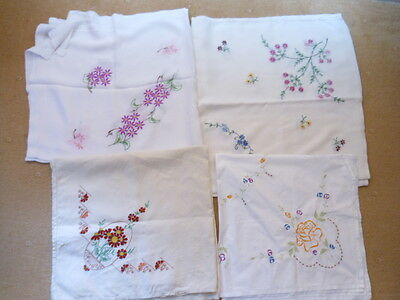 Job Lot of  4 Vintage Linen Embroidered Table Cloths.