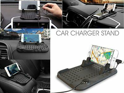 Universal Car Holder Stand USB Mount Magnetic Charger Cradle Non-Slip Pad mat