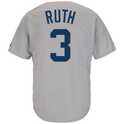 Majestic Babe Ruth #3 New York Yankees Cool Base MLB Trikot Road Grau