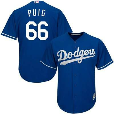 Majestic Yasiel Puig #66 Los Angeles Dodgers Cool Base MLB Trikot Alternate Blau