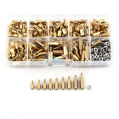 360pc M2.5 Brass Male-Female Standoff Spacer Hex Nuts Fastener Kit w/ Box Newest