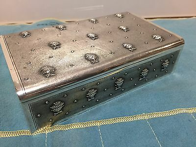 Exquisite 1820s Canton Chinese Export Silver Shark skin Penny flowers Box 546 gr
