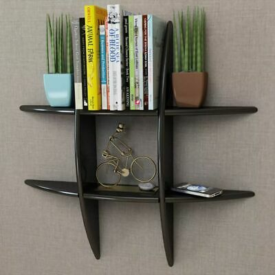 MDF Floating Cubes Wall Storage Book CD Display Shelf Black