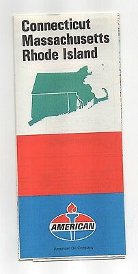 Vintage 1971 American Oil map of Connecticut, Massachusetts and Rhode Island
