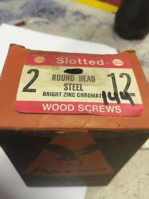 Vintage AMERICAN SCREW  # 12 x 2 Inch Round Head SLOTTED Wood Screws 144 PER box