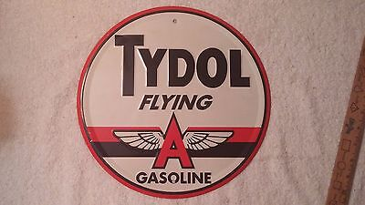 """TYDOL flying a gasoline 12"""" embossed metal sign gas & oil aviation auto fuel"""