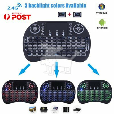 Mini I8 2.4G Wireless Touchpad Keyboard Air Mouse + 3Colors Backlight For PC AU