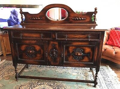 Antique Oak Jacobean Style Sideboard With Mirror Hand Carved FREE UK P&P