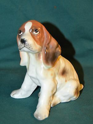 Vintage Lefton White Brown Springer Cocker Spaniel Porcelain Puppy Dog Figurine