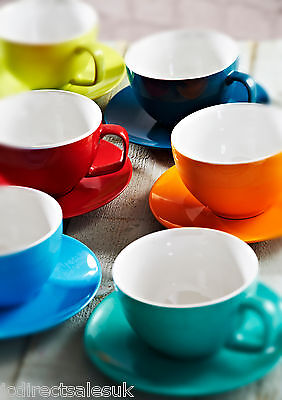 Set Of 2 x LARGE 15oz CAPPUCCINO CUPS & SAUCERS In 55 Matching Or Mixed Colours