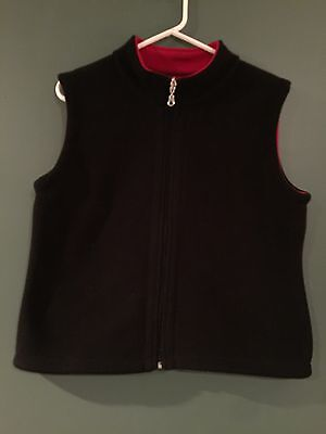 Women's Medium Black Vest Worn Twice No Inner Label Zips Up Good Preowned Cond