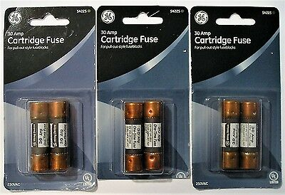 GE 30 Amp Cartridge Fuse Lot (Three 2-Count Packs) 250VAC 54225 Class H 30A