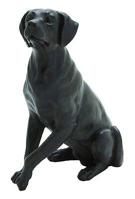 Resin Statue Figurine Attentive Sitting Dog Slate Gray Pet Lover Decor 44715