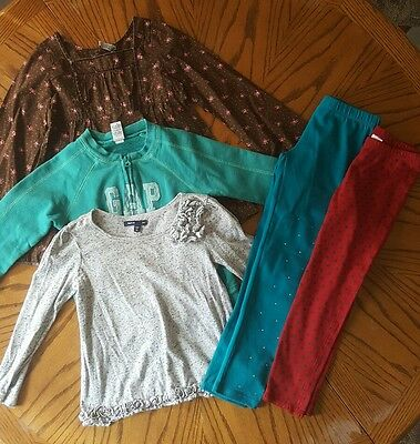 Lot 5 Pc Girl's GAP Clothes Leggings Shirt TopSweatshirt Jacket - Size XS S 6/7