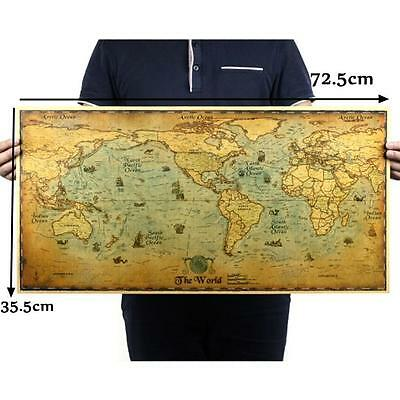 72.5*35.5cm Vintage Retro Paper Earth World Map Poster Wall Chart Livingroom DIY