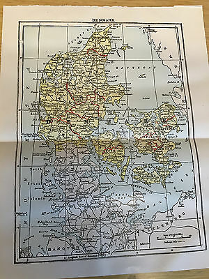 1904 - Original Antique Print from Encyclopaedia BRITANNICA, Map of DENMARK
