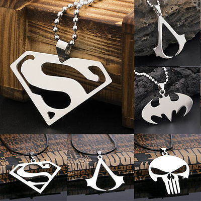 Women Men Super Heroes Stainless Steel Titanium Silver Pendant Necklace Chain