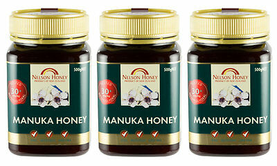 Nelson Honey Active Manuka Honey, MG 30+ - 3 x 500g - TRIPLE PACK