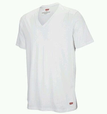 New Levi's Mens White Cotton Slim Fit V-Neck Casual T-Shirt size M