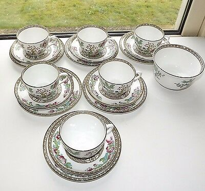 Bridgwood Anchor Indian Tree Pattern 6 x Trios Cups Saucers Plates Sugar Bowl