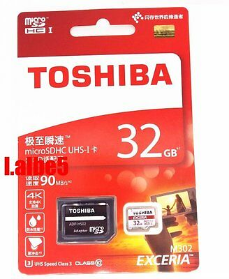 Toshiba EXCERIA 32GB 32G Micro SDHC 90MB/s Class 10 UHS-I Memory Card w/Adapter