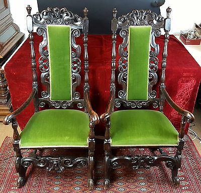 Pair Of Chairs In Walnut Wood. William And Mery. Xvii-Xviii.