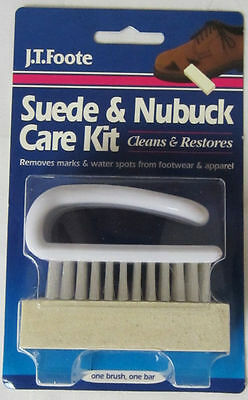 SUEDE Nubuck CLEANER Care Kit Shoes & Boots Restorer BRUSH and ERASER J.T. FOOTE
