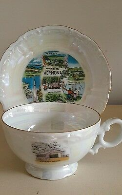 Antique Vermont state tea cup with matching saucer