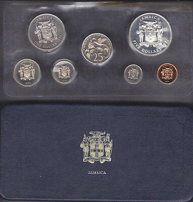 1971,1972 & 1973 Jamaica 7 Coin Proof Set 1Cent-5 Dollar  With Coa's & In Cases