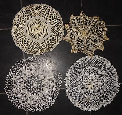 VINTAGE lace tray small cloth crochet set of 4 assorted (VC97)