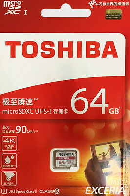 Toshiba EXCERIA 64GB 64G Micro SD SDXC 90MB/s Class 10 UHS-I Memory Card
