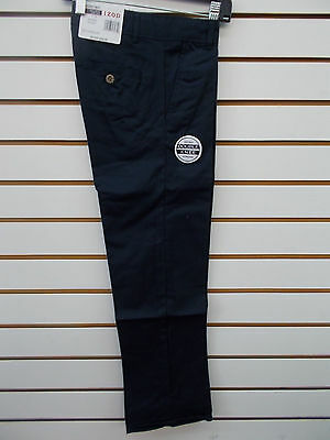 Boys IZOD $34 Navy Uniform/Casual Flat Front Adj Waist Pants Size 5 - 18