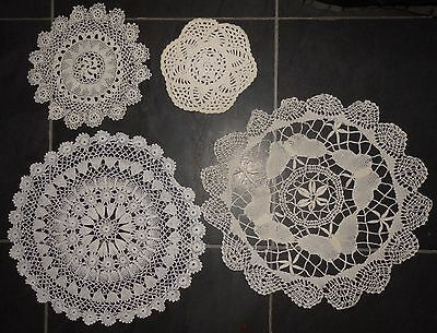 VINTAGE floral lace tray small cloth crochet set of 4 assorted (VC98)