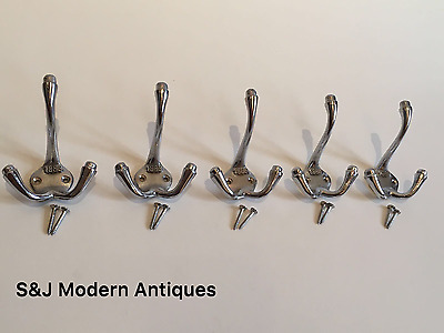 Triple 3 Hook Coat Hooks Iron Antique Vintage 1883 Hat Rack Chrome Grey Set of 5