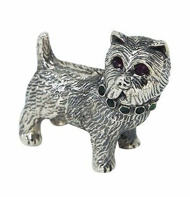 Collectable Victorian Style Scottie Dog Figurine Ruby Eyes 925 Sterling Silver