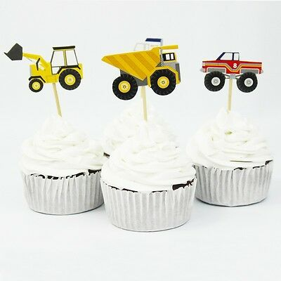 Transport Birthday Boys Party Cupcake Cake Toppers x 24