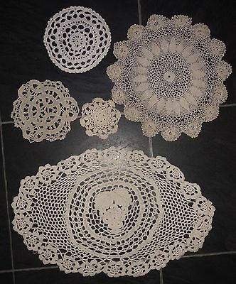 VINTAGE floral / grape lace tray small cloth crochet set of 5 assorted (VC100)